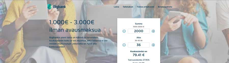 BigBank laina nettisivusto