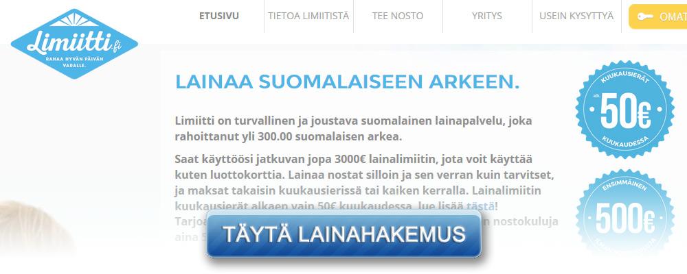Limiitti.fi kotisivu kuvakaappaus
