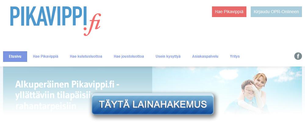 Pikavippi.fi kotisivu kuvakaappaus