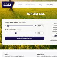 Kuvakaappaus Aasa lainapalvelun etusivulta