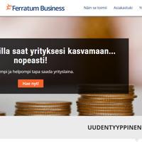 Kuvakaappaus Ferratum Business yrityslainan kotisivulta